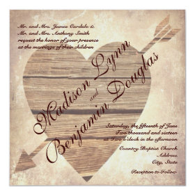 Rustic Country Barn Wood Heart Wedding Invitations