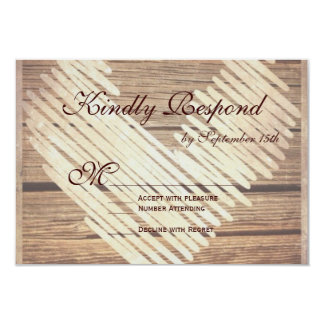 Rustic Country Barn Wood Heart Wedding RSVP Cards