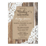 Rustic Country Barn Wood Lace Baby Shower Card