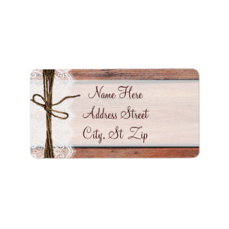 Rustic Country Barn Wood Lace Twine Address Labels