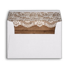 Rustic Country Barn Wood Lace Wedding 5x7 Envelope at Zazzle
