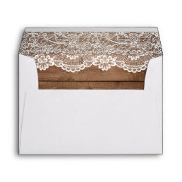 Rustic Country Barn Wood Lace Wedding 5x7 Envelope