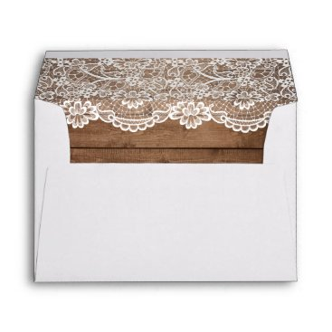 CardHunter Rustic Country Barn Wood Lace Wedding 5x7 Envelope