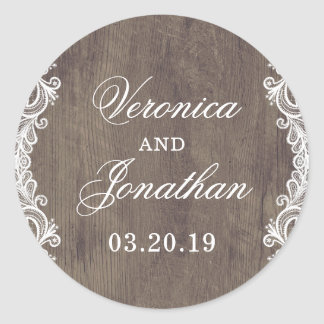 Rustic Country Barn Wood & Lace Wedding Classic Round Sticker