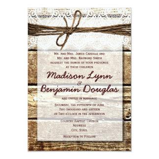 Rustic Country Barn Wood Lace Wedding Invitations Custom Invitations