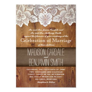 Rustic Country Barn Wood Lace Wedding Invitations