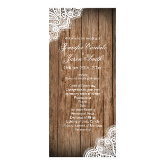 Rustic Country Barn Wood Lace Wedding Programs