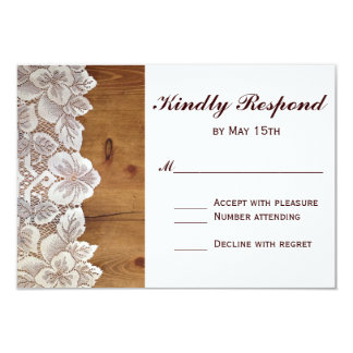 Rustic Country Barn Wood Lace Wedding RSVP Card