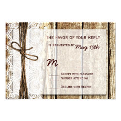 Rustic Country Barn Wood Lace Wedding RSVP Cards