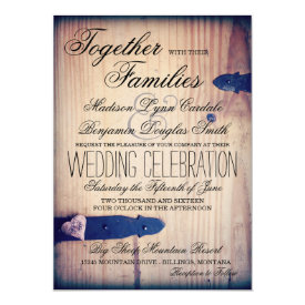 Rustic Country Barn Wood Latch Wedding Invitations
