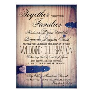 Rustic Country Barn Wood Latch Wedding Invitations