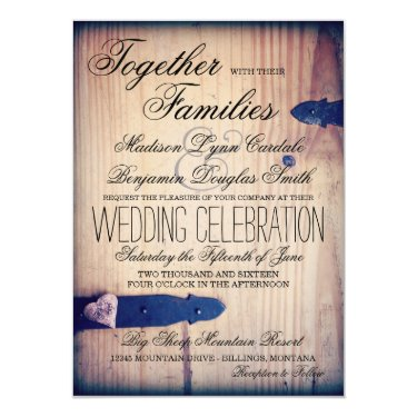 Rustic Country Barn Wood Latch Wedding Invitations Good Looking