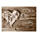 Rustic Country Barn Wood Love Heart Wedding Invite Custom Announcement (<em>$2.05</em>)