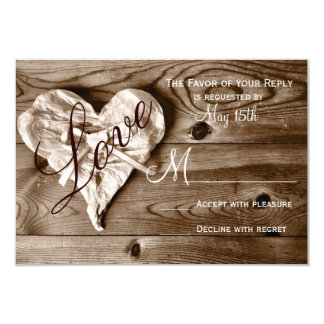 Rustic Country Barn Wood Love Heart Wedding RSVP 3.5x5 Paper Invitation Card
