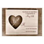 Rustic Country Barn Wood Love Heart Wedding RSVP Announcements
