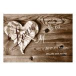 Rustic Country Barn Wood Love Heart Wedding RSVP Custom Announcements