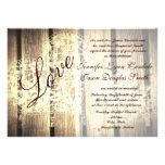 Rustic Country Barn Wood Love Wedding Invitations Custom Invitations