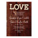 Rustic Country Barn Wood LOVE Wedding Invitations