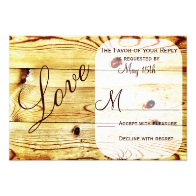 Rustic Country Barn Wood Love Wedding RSVP Cards