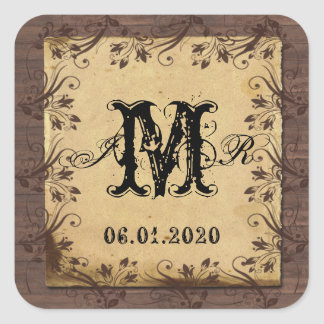 Rustic Country Barn Wood Monogram Sticker