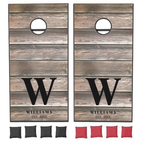 Rustic Country Barn Wood Personalized Cornhole Set