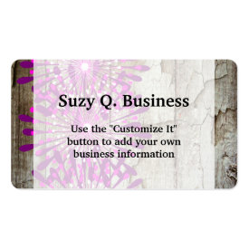 Rustic Country Barn Wood Pink Purple Flowers Business Cards