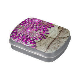 Rustic Country Barn Wood Pink Purple Flowers Jelly Belly Tins
