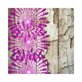 Rustic Country Barn Wood Pink Purple Flowers Canvas Prints
