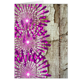 Rustic Country Barn Wood Pink Purple Flowers Greeting Card