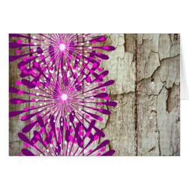 Rustic Country Barn Wood Pink Purple Flowers Greeting Cards
