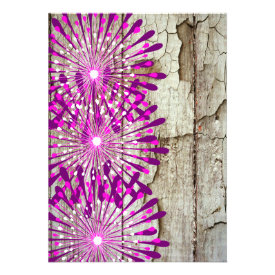 Rustic Country Barn Wood Pink Purple Flowers Cards