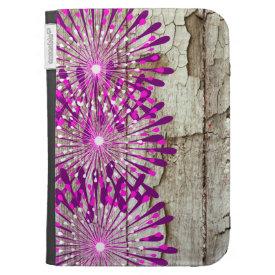 Rustic Country Barn Wood Pink Purple Flowers Kindle Keyboard Case