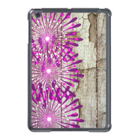 Rustic Country Barn Wood Pink Purple Flowers iPad Mini Case