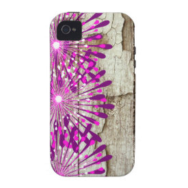 Rustic Country Barn Wood Pink Purple Flowers Vibe iPhone 4 Cover