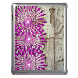 Rustic Country Barn Wood Pink Purple Flowers iPad Cases