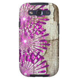Rustic Country Barn Wood Pink Purple Flowers Samsung Galaxy S3 Cases