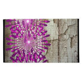 Rustic Country Barn Wood Pink Purple Flowers iPad Folio Covers