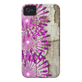 Rustic Country Barn Wood Pink Purple Flowers iPhone 4 Case-Mate Case