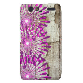 Rustic Country Barn Wood Pink Purple Flowers Droid RAZR Cover