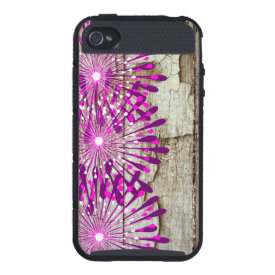Rustic Country Barn Wood Pink Purple Flowers iPhone 4/4S Cases