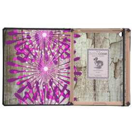 Rustic Country Barn Wood Pink Purple Flowers iPad Cover