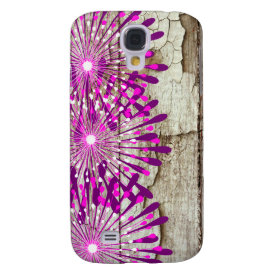 Rustic Country Barn Wood Pink Purple Flowers Galaxy S4 Cover