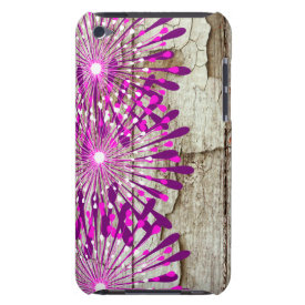 Rustic Country Barn Wood Pink Purple Flowers iPod Touch Cover