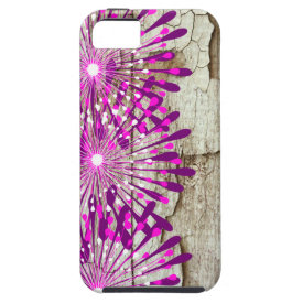 Rustic Country Barn Wood Pink Purple Flowers Case For iPhone 5/5S