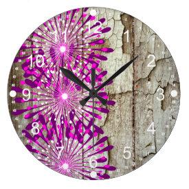Rustic Country Barn Wood Pink Purple Flowers Clock