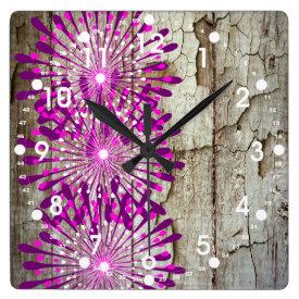 Rustic Country Barn Wood Pink Purple Flowers Wallclocks