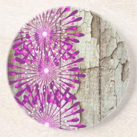 Rustic Country Barn Wood Pink Purple Flowers Coasters