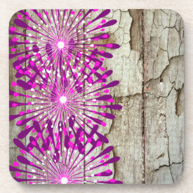 Rustic Country Barn Wood Pink Purple Flowers Coaster