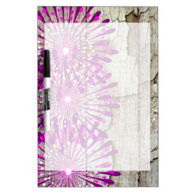 Rustic Country Barn Wood Pink Purple Flowers Dry-Erase Boards
