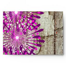Rustic Country Barn Wood Pink Purple Flowers Envelope